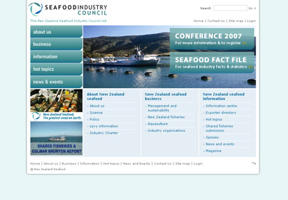 Screen shot of Seafood home page